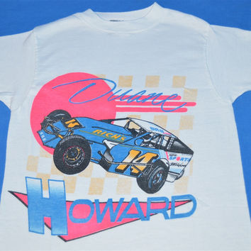 80s Duane Howard Dirt Track Racing Neon t-shirt Youth Medium