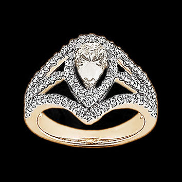 2.25 CT. pear cut diamond engagement ring pink gold