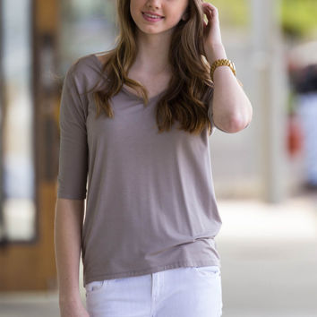 The Perfect Piko 3/4 Sleeve Slim Fit V-Neck Top-Light Brown