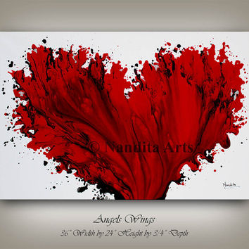 Original Red Art Painting on Canvas, Red Heart, Wedding Anniversary, Modern Art LARGE Abstract Painting Office Home Decor Fine Art, Nandita