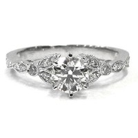 ROUND ART DECO ANTIQUE DIAMOND ENGAGEMENT RING 0.75CTW 18K