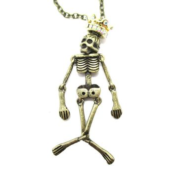 Unique Moveable Human Skeleton Bones Shaped Pendant Necklace With Crown in Brass