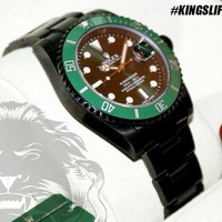 Black ROLEX Submariner Green Anniversary KingsLife Edition in DLC / PVD 116610LV