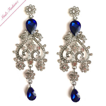 Silver Blue Chandelier Earrings Rhinestone Bridal Earrings Cubic Zirconia Crystal Earrings | MadzFashionz