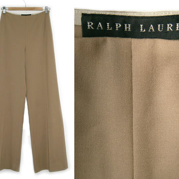 Vintage Ralph Lauren Pants~Size Small/4~Waist 25 to 28~80s 90s High Waisted Wool Tan Camel Brown Stretchy Slacks Dress Pants~By Ralph Lauren
