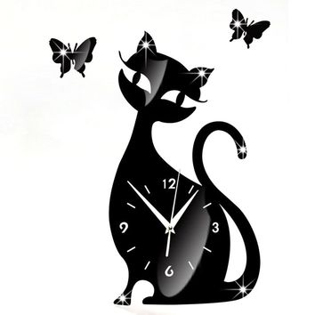 Cute Cat Butterfly Mirror Black Wall Clock Modern Design Home Decor Watch Wall Sticker