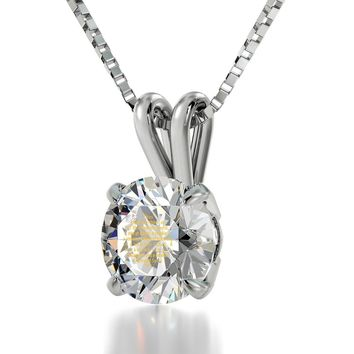 """Diamond Sutra"", 14k White Gold Necklace, Swarovski"
