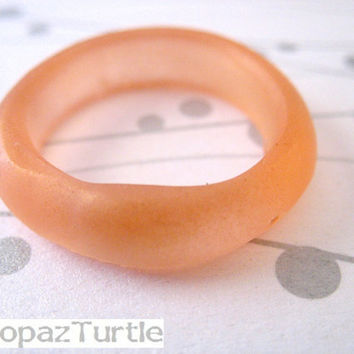Pale Peach Resin Ring Jewelry , Stack Pink Apricot Resin Stacking Ring Set Size 10 Frosted Band Australia Matte Ring