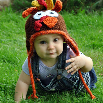 Crochet Turkey Hat, Thanksgiving Hat, Farm Animal, Autumn crochet Fall Baby Hat Newborn Photo Prop Kids Hat, Adult Turkey Boys Hat Girls Hat