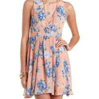 Floral Chiffon Pleated Skater Dress by Charlotte Russe