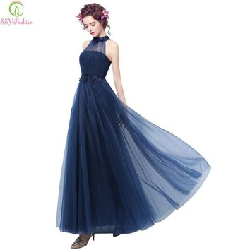 Fashion Sexy Halter Appliques Beading Sleeveless Long Evening Dress Custom Bride Party Formal Dresses