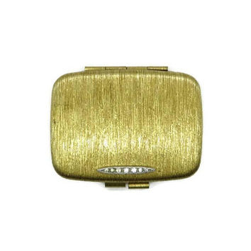 Vintage Goldtone Rhinestone Compact, Rectangular Makeup Mirrored Powder Compact