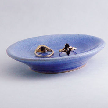 "Spoon Rest or Ring Dish, Handmade Ceramic Plate, 4"" inch Periwinkle Blue Lavender, Wheel Thrown Pottery"