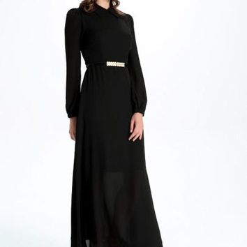 Black Chiffon Long Sleeve Women's Maxi Dress
