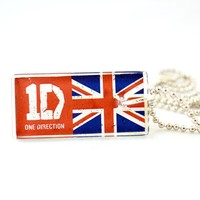 One Direction British Band Harry, Zayn, Liam, Niall and Louis Glass Tile Pendant Necklace Jewelry Wearable Art Unique Design By Atlantic Seaboard Trading Co.