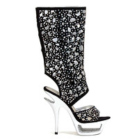PL10-1 Black Peep toe Rhinestones Knee-high Boots
