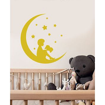 Vinyl Wall Decal Reading Boy On Crescent Moon Fairy Tales Book Stickers (3480ig)