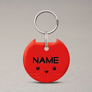 Colored Cat ID Tag - Custom Name Tag, Personalized ID Tag, Cute Cat Accessories