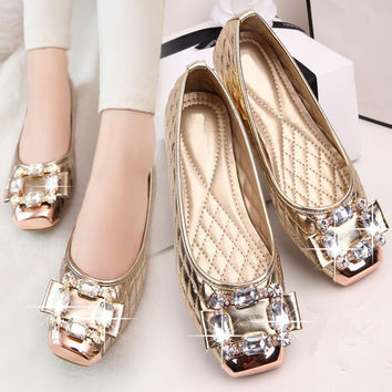 Women Ballet Princess Shoes For Casual Crystal Boat Shoes Rhinestone Women Flats