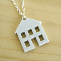 House Silhouette Necklace - Light Grey