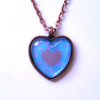Gold heart glass dome heart necklace for tween or teen girl