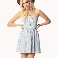 Sweetheart Floral Chambray Dress