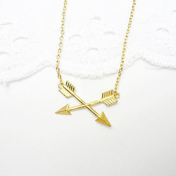 Dainty Gold Cross Double Arrow Necklace