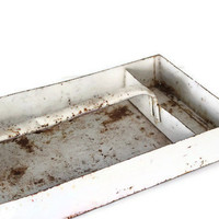 Vintage White Rustic Metal Tool Tray Industrial Home Decor