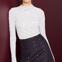 Anything is Posh-ible Black and White Striped Top