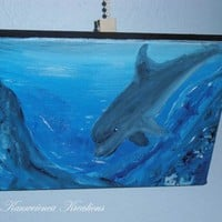 Dolphin ocean swim beautiful 8 x 6 underwater painting Gunilla Wachtel