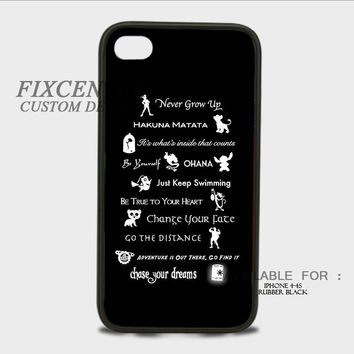Disney Lessons Learned Mash Up Disney Quote iPhone Rubber Cases for iPhone 4,4S, iPhone 5,5S, iPhone 5C, iPhone 6, iPhone 6 Plus, Samsung Galaxy S3, Samsung Galaxy S4, Samsung Galaxy S5  phone case design