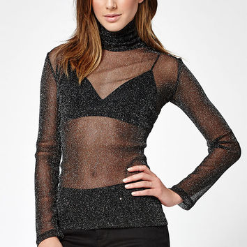 Motel Rocks Hazel Sheer Turtleneck Top at PacSun.com