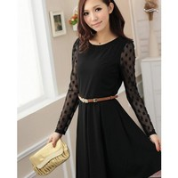 Long Sleeve Scoop Women Autumn New Style Korean Style Slim Vintage Black Polyester Dress with Sash M/L/XL @WH0404b $25.12 only in eFexcity.com.