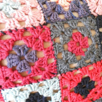 Handmade Vinatage Granny Square Crocheted Pillow