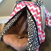Carseat Canopy Coral Pink Chevron and Cheetah Print