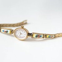 Gold plated women's watch Seagull, unique women watch bracelet,oval face watch,ceramic jewelry inclusion bracelet,flowers watch,Russian folk