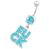 Naughty Names & Words Dangle Aquamarine Crystal Belly Button Ring For Girls [Gauge: 14G - 1.6mm / Length: 10mm] 316L Surgical Steel & Crystal