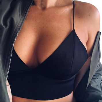 2016 New Arrival Women Sexy V-Neck Black Camis Summer Tank Crop Tops Bustier Backless short Basic Tops Female Vest Camis #WY