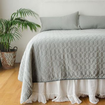 Velvet Quilted Coverlet with Satin Back in MINERAL