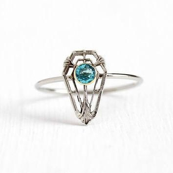 Vintage 10k White Gold Simulated Blue Zircon Stick Pin Conversion Ring - 1920s Size 8