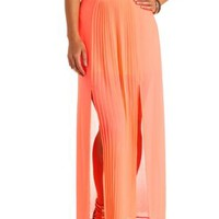 Neon Pleated Front Slit Maxi Skirt by Charlotte Russe - Neon Coral