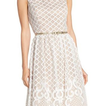 Eliza J Geometric Lace Fit & Flare Dress | Nordstrom