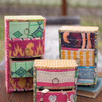 Set of 3 Kantha Covered Jewelry Chests- 1 Each Design
