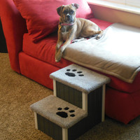 "Dog Steps, Cat Steps, 15"" High Dog Stairs! Perfect for Small to Medium Size Dogs and Cats, Handbuilt, Custom Made Pet Steps, Dog Bed"