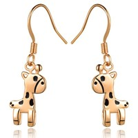18K Rose Gold Plated Cute Giraffe Drop Earrings