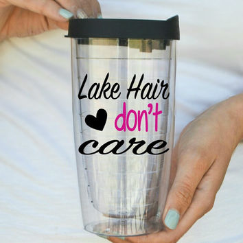 Lake Hair Don't Care - Boating - Fishing Travel Mug Tumbler