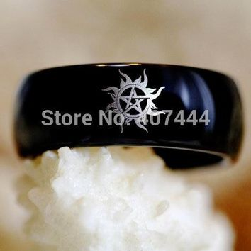 Free Shipping USA UK Canada Russia Brazil Hot Sales 8mm One Black Dome Supernatural Men's Fashion Tungsten Carbide Wedding Ring