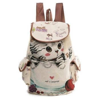 School Backpack trendy Moon Wood Cartoon Animal Cat Embroidery Drawstring Backpack Women Cute Canvas Backpack School Bags For Teenager Girls Book Bag AT_54_4