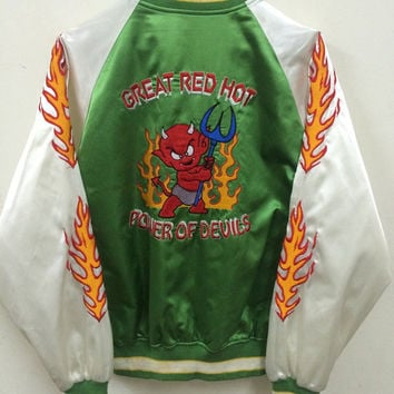 Vintage Sukajan Japan Yokosuka Red Devils Tedman's Dragon Eagle Tiger Yakuza Embroidery Souvenirs Satin Jacket Rare