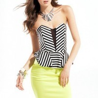 Striped Bust Peplum Dress in Lime